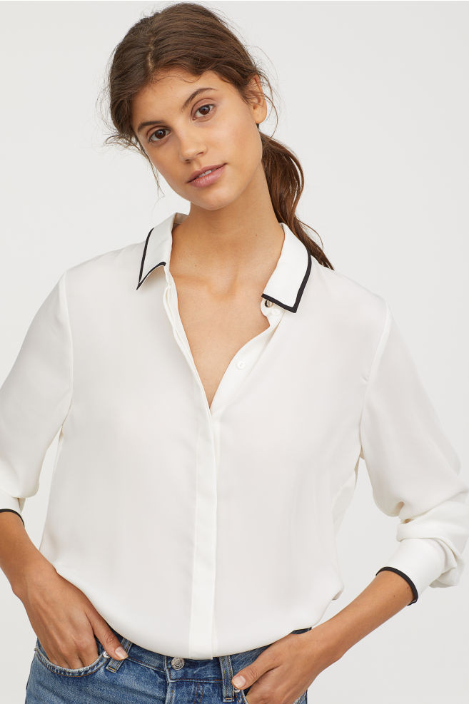 Long-Sleeeved Blouse White