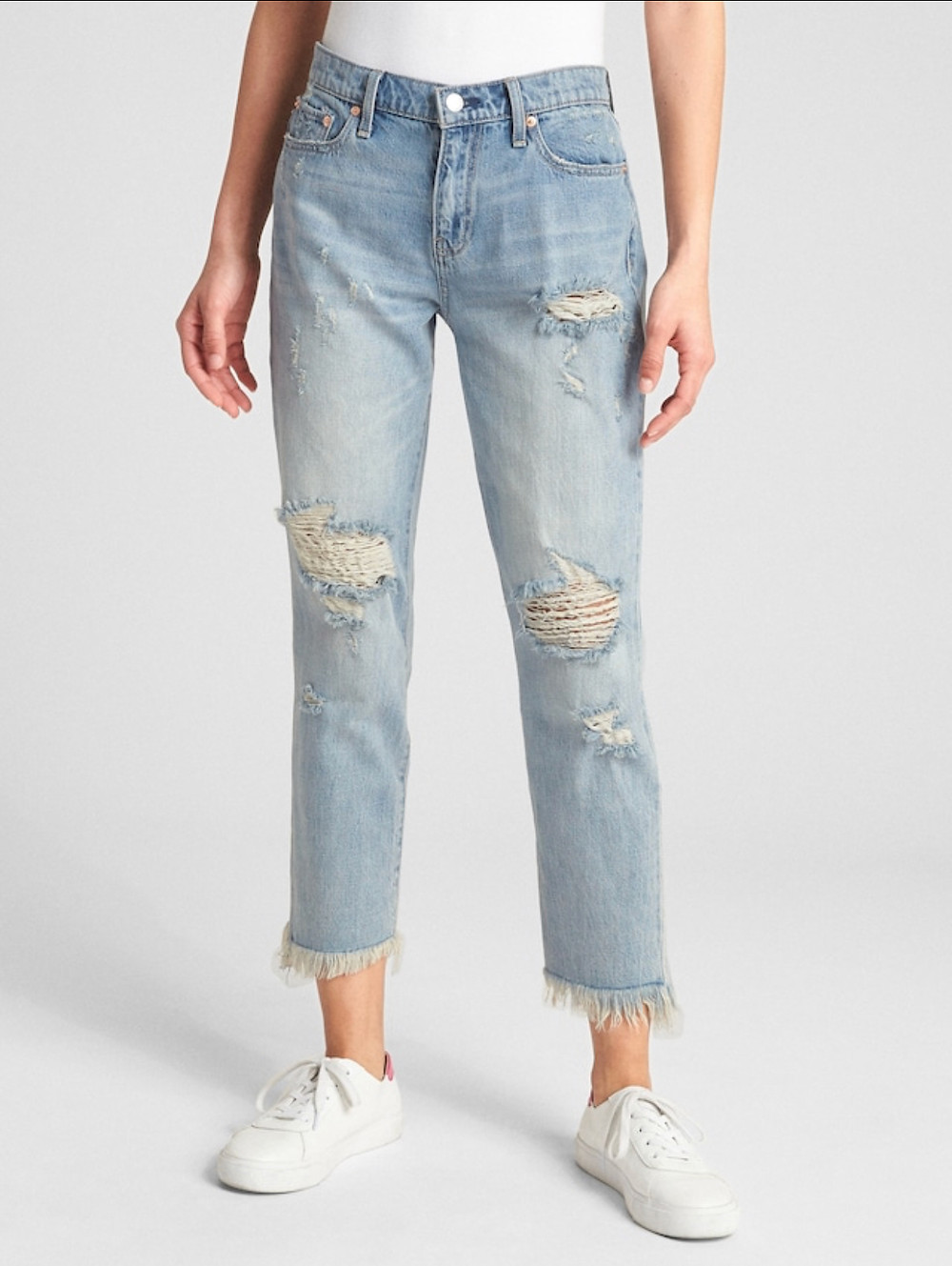 Mid-Rise Best Girlfriend Jeans with Distressed Detail: