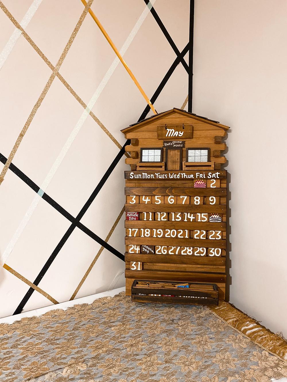 the bleached curl wooden calendar