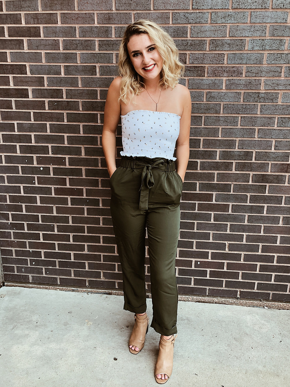 Olive Green Tie Waist Pants with tube top