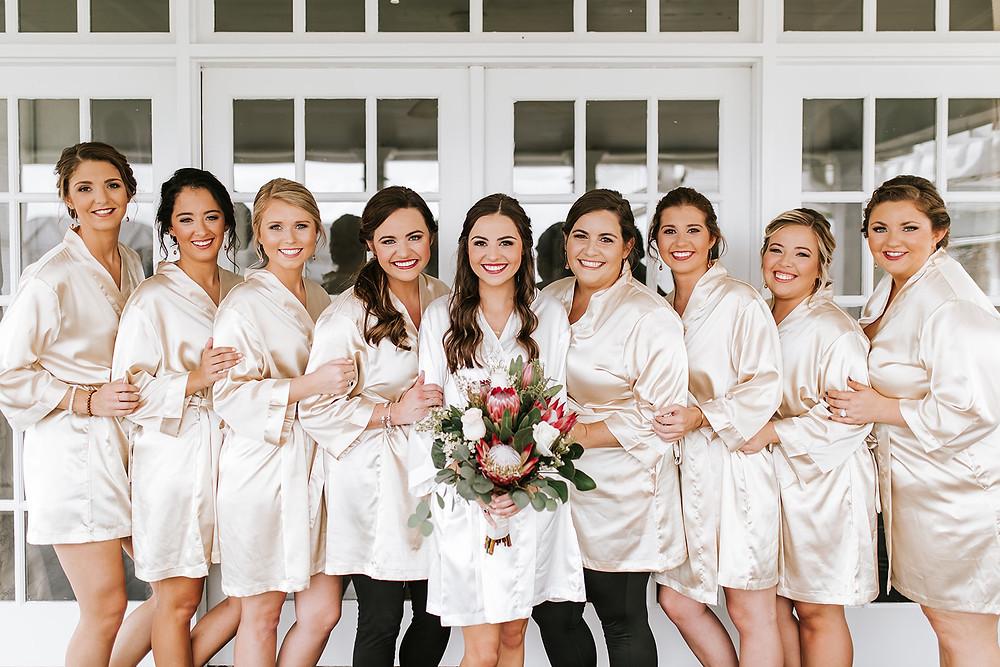 Bridesmaids in robes (c) AshlynCatheyPhoto