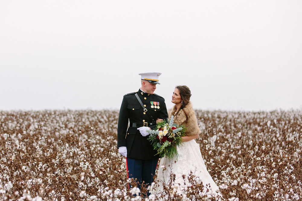 Military couple in cotton  | Two Chics Photography