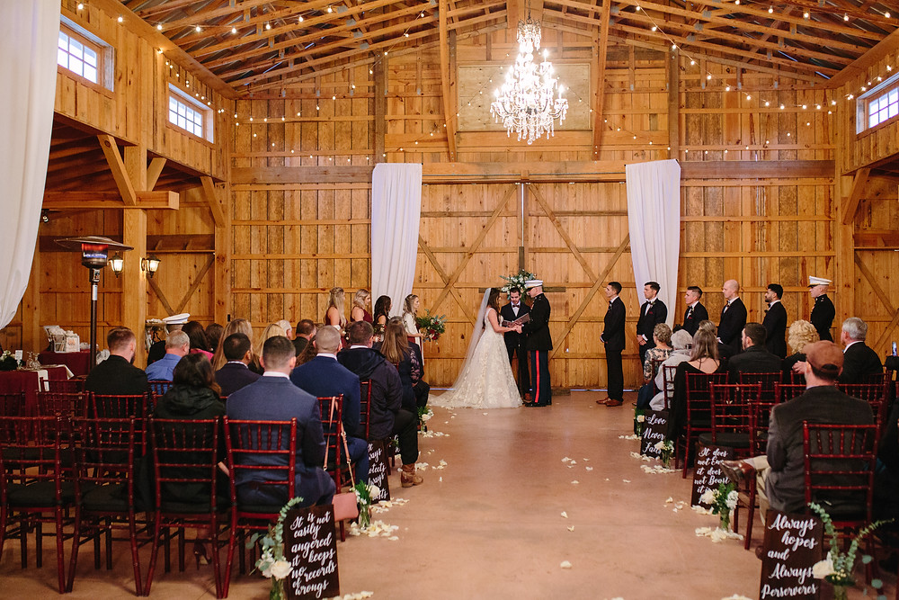 Indoor Barn Ceremony  | Two Chics Photography