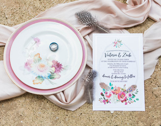 Victoria + Zach's April Wedding featuring Pastel Hues and Cornflower Blue