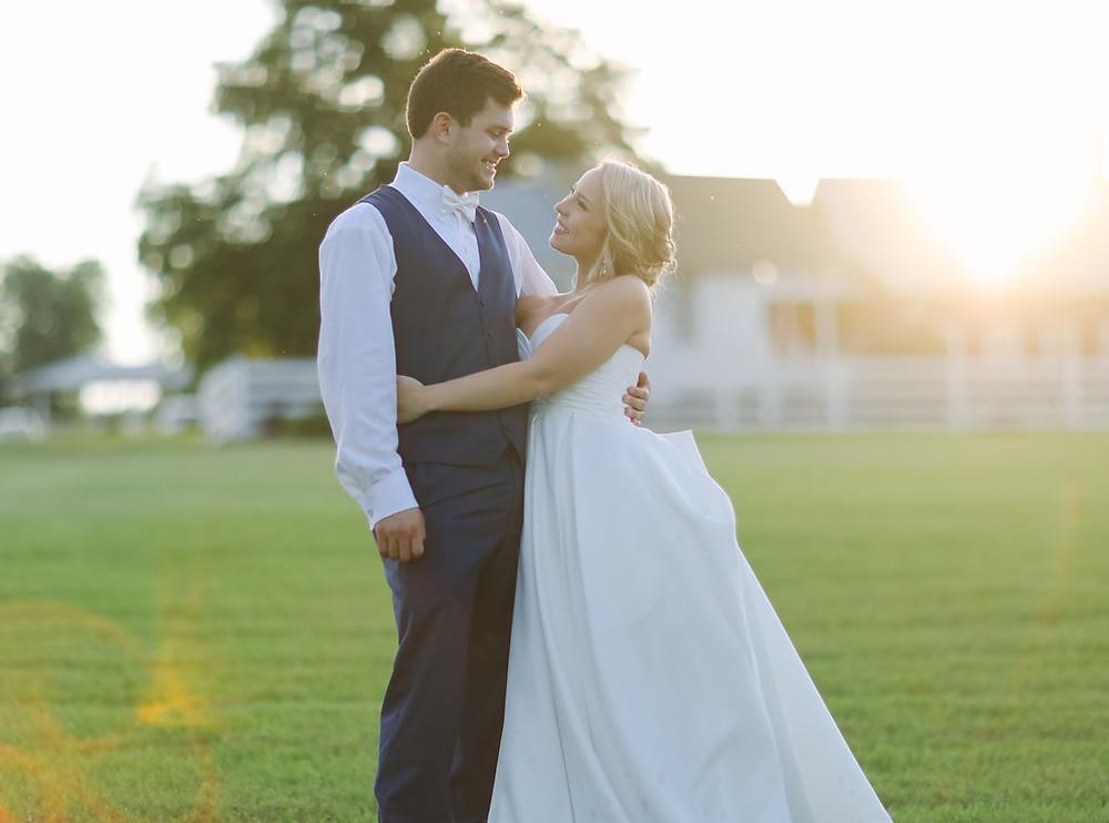 Bride and Groom Twin Oaks Farm