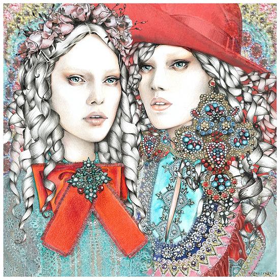 TURQUOISE Fashion illustration 40x40cm