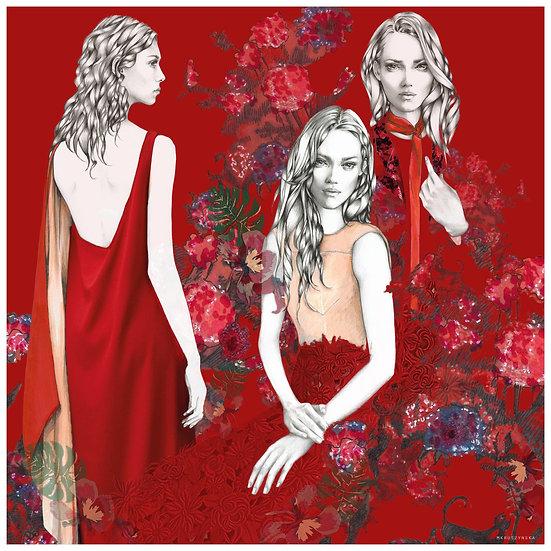 GARNET Fashion illustration 40x40cm