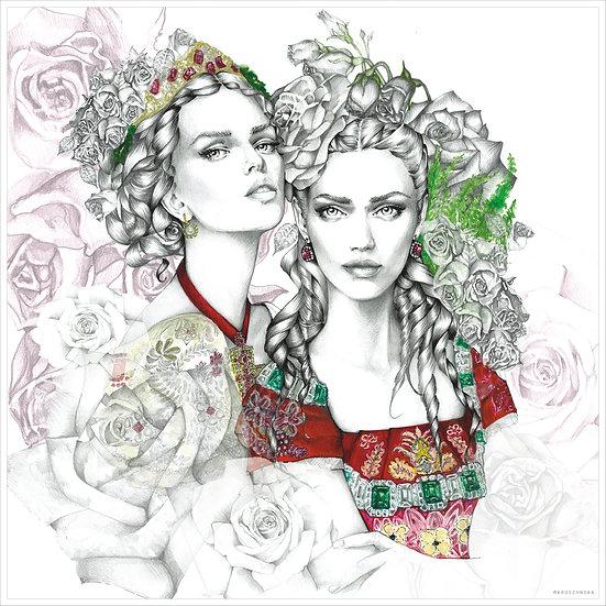 PERIDOT Fashion illustration 40x40cm