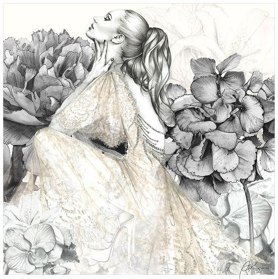 HYDRANGEA Fashion Illustration 40x40cm