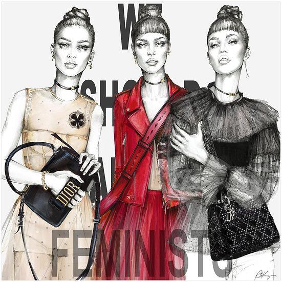 FEMINISTS Fashion Illustration 40x40cm