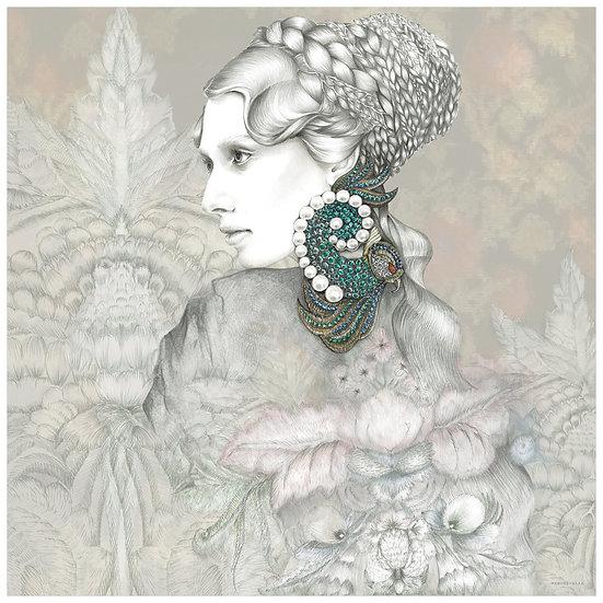 EMERALD  Fashion illustration 40x40cm