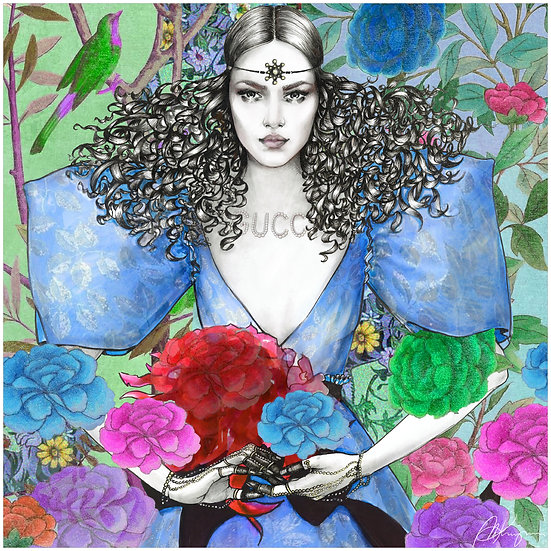 Blue Fairy Fashion Illustration 40x40cm