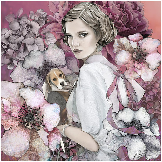 Beagle Fashion Illustration 40x40cm