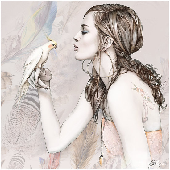 Parrot Fashion Illustration 40x40cm