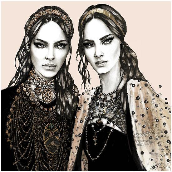 GOLDEN PEARLS Fashion Illustration 40x40cm