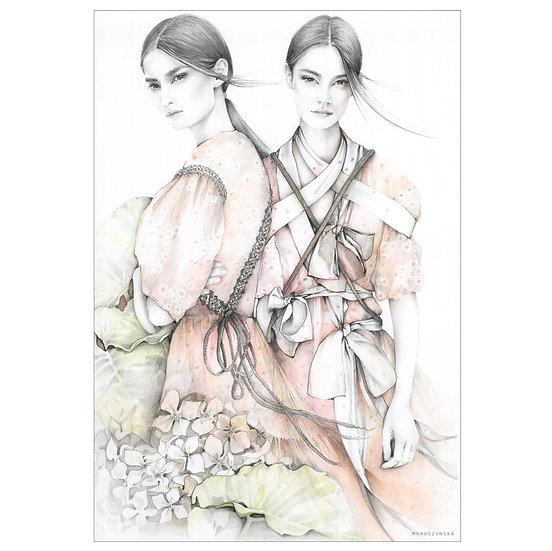 SHELLS Fashion illustration 30x40cm