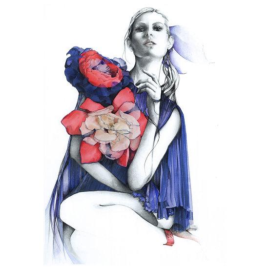 SAPPHIRE Fashion illustration 30x40cm