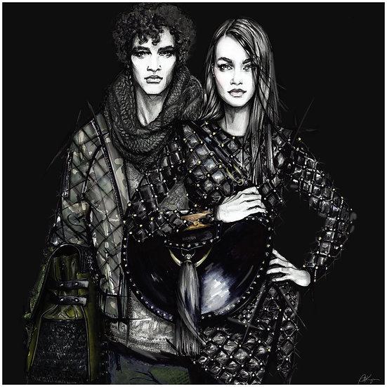 CARBON Fashion Illustration 40x40cm