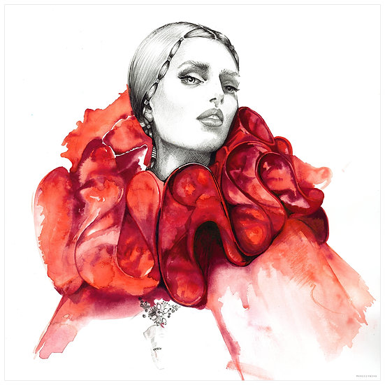 RUBY Fashion illustration 40x40cm