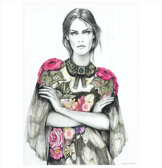 AMETHYST Fashion illustration 30x40cm