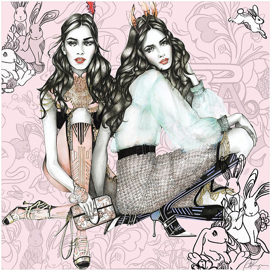 PINK BUNNIES Fashion Illustration 40x40cm