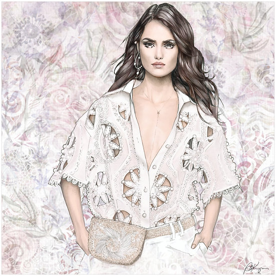 White Lace Fashion Illustration 40x40cm