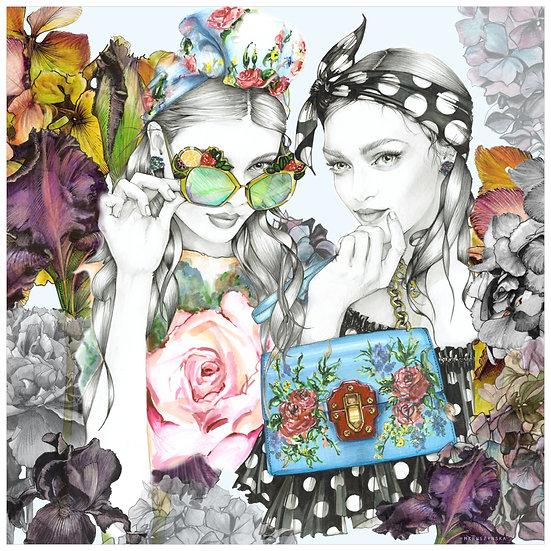 AQUAMARINE  Fashion illustration 40x40cm