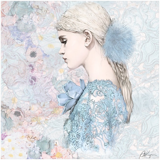 Blue Flower Fashion Illustration 40x40cm