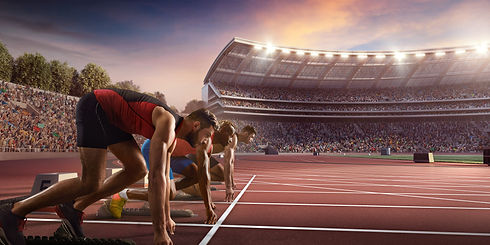 Male athletes sprinting. Three men in sp