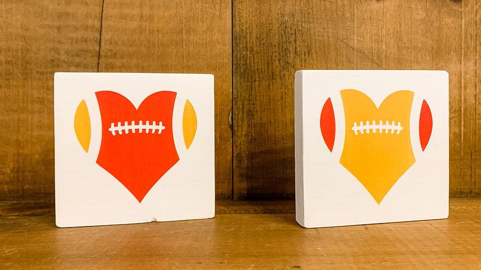 4 inch KC football heart