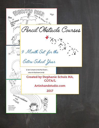Pencil Obstacle Courses- 9 Month Set for the Entire School Year
