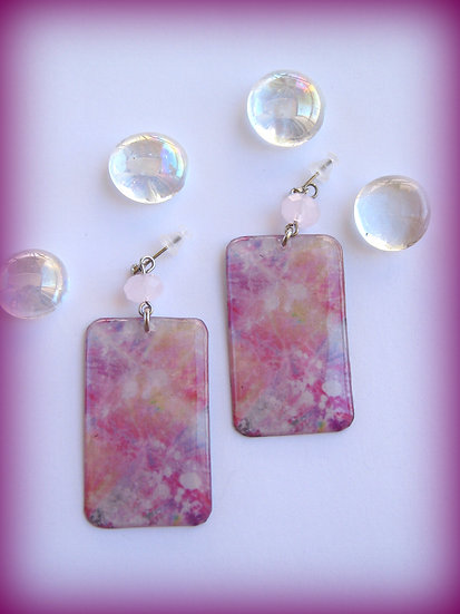 Pink Explosion Resin Earrings