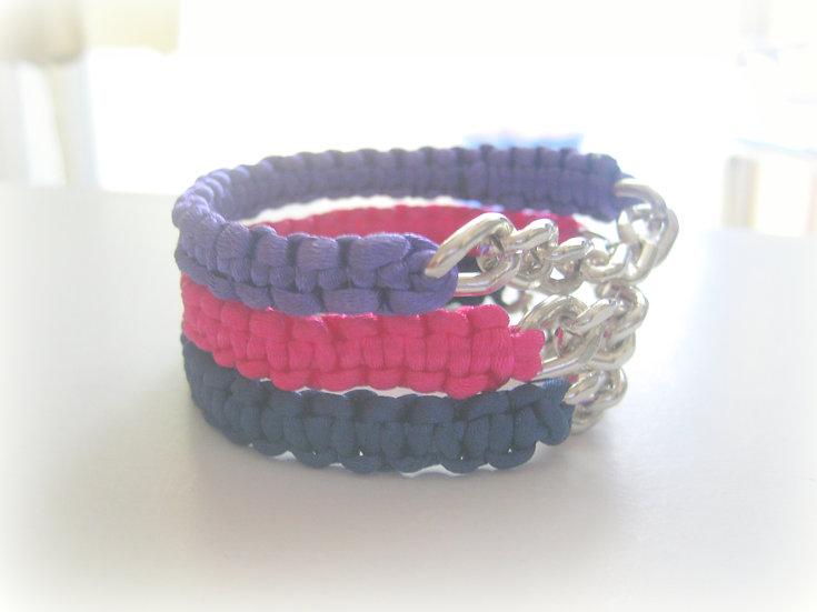 Silver Chain & Single Macrame Bracelet
