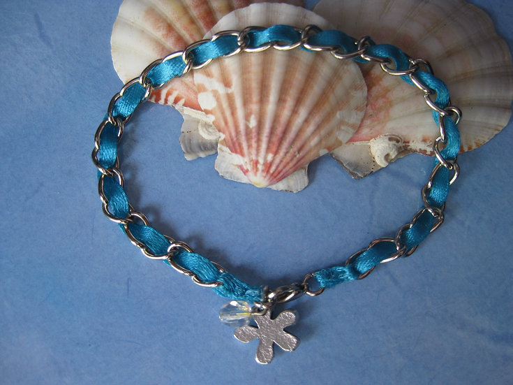 Silver Chain & Turquoise Ribbon Bracelet