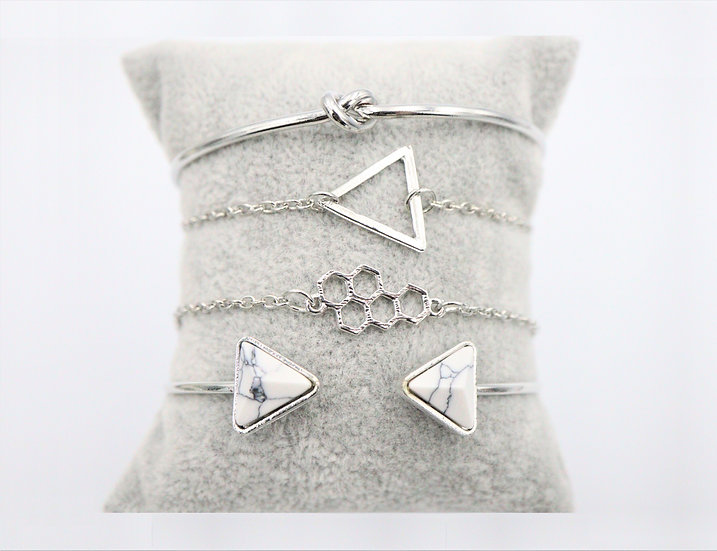 White Triangle Bracelet Set
