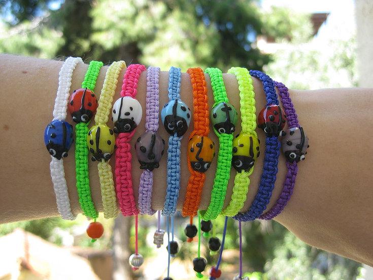 Murano Ladybug Macrame Bracelet