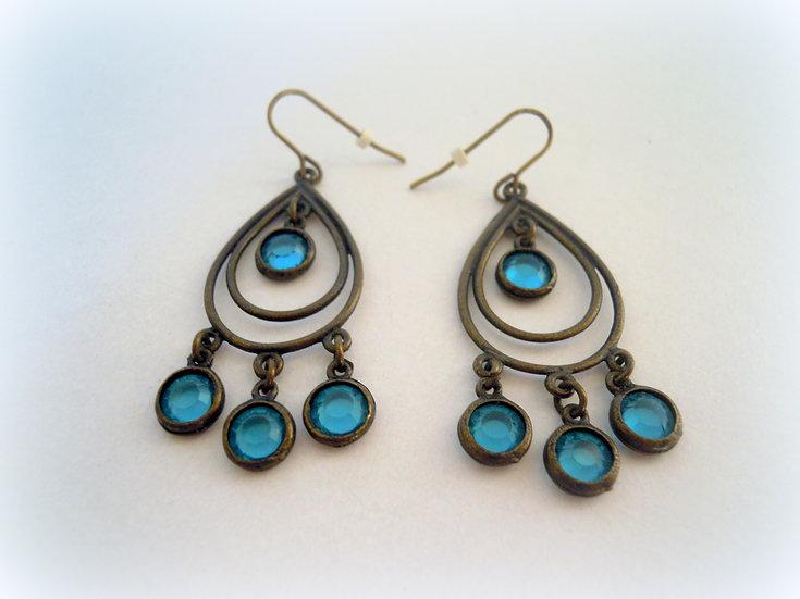 Bronze & Blue Crystals Earrings