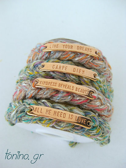 Knitted Quote Bracelets