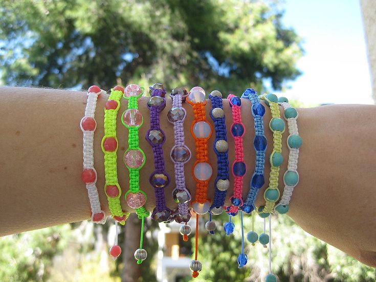 Various Stones & Crystals Macrame Bracelets
