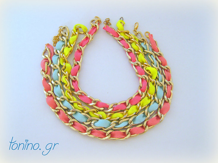 Gold Chain & Ribbon Necklace
