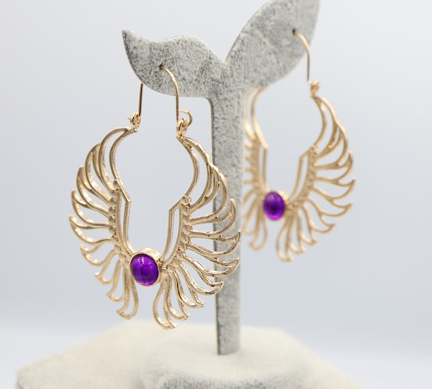 Purple Wings Earrings