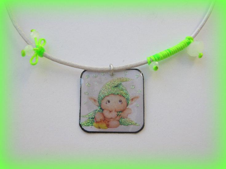 Little Green Elf Resin Pendant