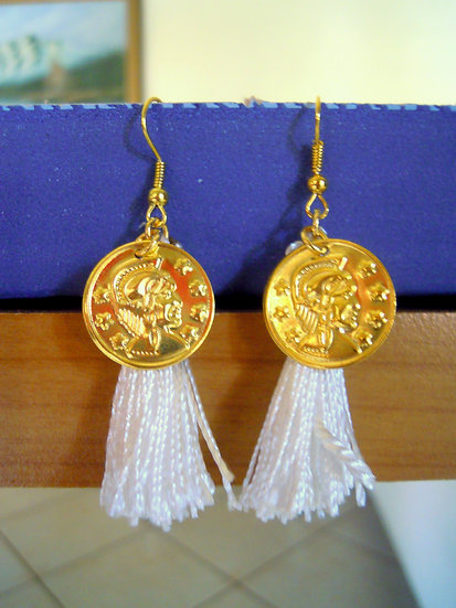 Greek Style White Tassel Earrings