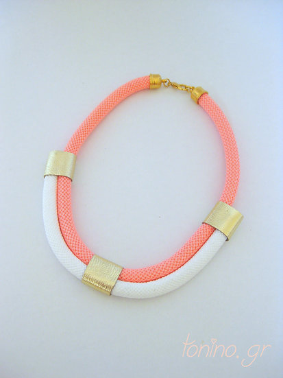 Coral-White x2 Statement Necklace