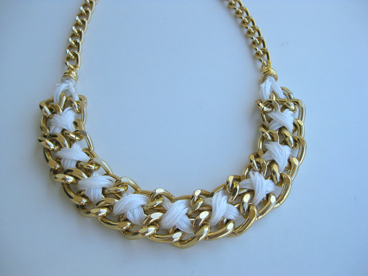 Knitted Gold Chain Statement Necklace