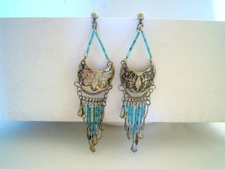Light Blue Boho Earrings