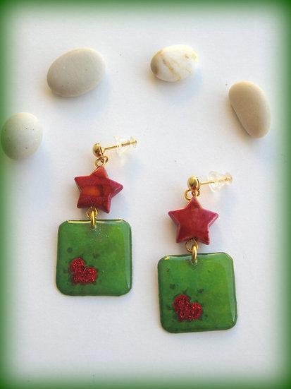 Hearts in Green Resin Earrings