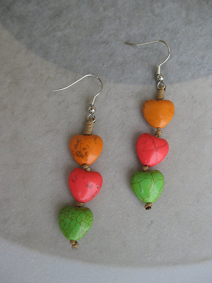 Howlite Hearts Earrings