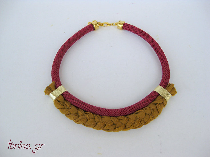 Ethnic Bordeaux & Braided Statement Necklace