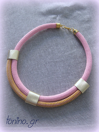 Baby Pink-Gold x2 Statement Necklace